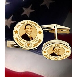 Barack Obama Inauguration Dem  CuffLinks   w  Raised Letters