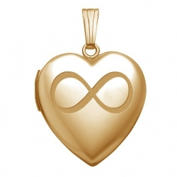 Solid 14K Yellow Gold  Sweetheart  Infinity Locket