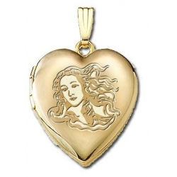 Solid 14K Yellow Gold Venus or Aphrodite  Goddess of Love  Locket