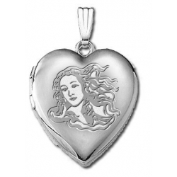 14k White Gold  Venus or Aphrodite  Goddess of Love  Locket