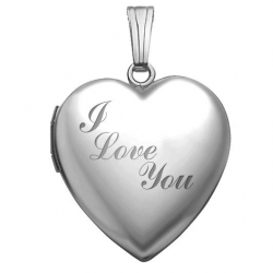 14k White Gold Sweetheart  I Love You   Locket