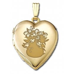 Solid 14K Yellow Gold  Sweetheart  Dozen Roses Locket