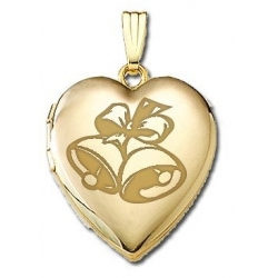 Solid 14K Yellow Gold  Sweetheart  Wedding Bells Locket