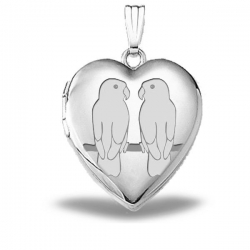 Sterling Silver  Sweetheart  Lovebirds Heart Locket