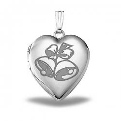 Sterling Silver  Sweetheart  Wedding Bells Heart Locket
