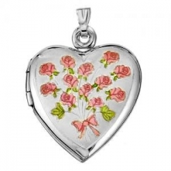 Sterling Silver  Sweetheart  Dozen Roses Heart Locket