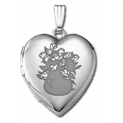14k White Gold Sweetheart  Dozen Roses   Locket