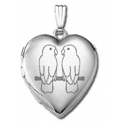 14k White Gold Sweetheart  Lovebirds   Locket