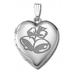 14k White Gold Sweetheart  Wedding Bells   Locket