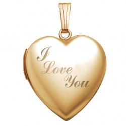 Solid 14K Yellow Gold  Sweetheart  I Love You Locket