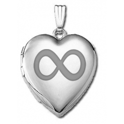 14k White Gold Sweetheart  Infinity   Locket