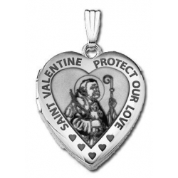 14k White Gold Sweetheart  Saint Valentine   Locket