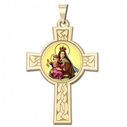 Our Lady of Mount Carmel Cross Medal   Color EXCLUSIVE