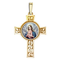 Sacred Heart of Mary Cross Medal  Color EXCLUSIVE