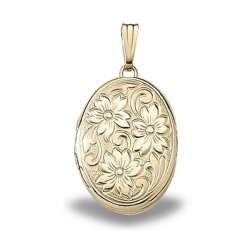 Solid 14K Yellow Gold Floral Locket