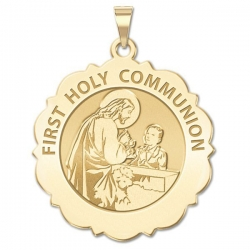 First Holy Communion Scalloped Round Medal  Boy   EXCLUSIVE