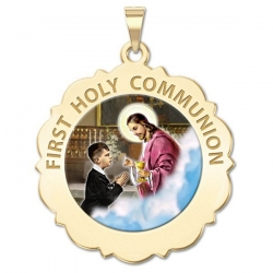 First Holy Communion Scalloped Round Medal  Boy   Color EXCLUSIVE