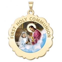 First Holy Communion Medal Scalloped Round   Girl   Color EXCLUSIVE