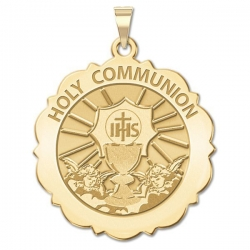Holy Communion Scalloped Round Medal  EXCLUSIVE