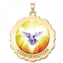 Confirmation Scalloped Round Medal    Holy Spirit  Color EXCLUSIVE