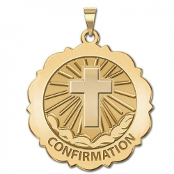 Confirmation  Scalloped Round Medal    Cross  EXCLUSIVE