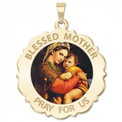 Blessed Mother  Virgin Mary Scalloped Medal   Color EXCLUSIVE