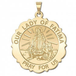 Our Lady of Fatima Scalloped Round Medal   EXCLUSIVE