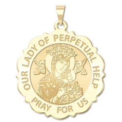Our Lady of Perpetual Help Scalloped Round Medal  EXCLUSIVE