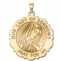 Our Lady of Sorrows Scalloped Round Medal  EXCLUSIVE
