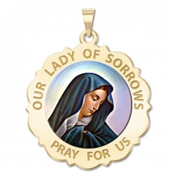 Our Lady of Sorrows Scalloped Round Medal  Color EXCLUSIVE