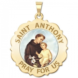 Saint Anthony Scalloped Medal  Color EXCLUSIVE