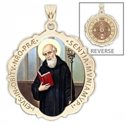 Saint Benedict Scalloped Round Medal  Color EXCLUSIVE