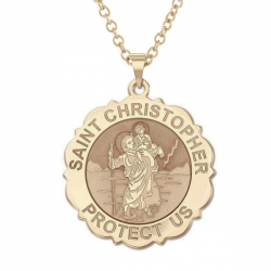 Saint Christopher Scalloped Round Medal    EXCLUSIVE
