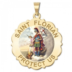 Saint Florian Scalloped Medal   Color EXCLUSIVE
