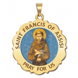 Saint Francis of Assisi Scalloped Medal  Color EXCLUSIVE