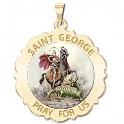 Saint George Scalloped Medal  Color EXCLUSIVE