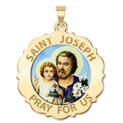 Saint Joseph Scalloped Medal  Color EXCLUSIVE