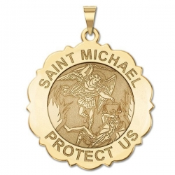 Saint Michael Scalloped Round Medal   EXCLUSIVE
