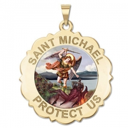 Saint Michael Scalloped Round Medal   Color EXCLUSIVE