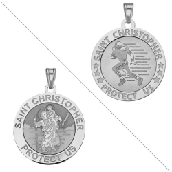 Football   Saint Christopher Doubledside Sports Medal  EXCLUSIVE