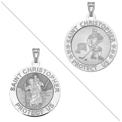 Ice Hockey   Saint Christopher Doubledside Sports Medal  EXCLUSIVE
