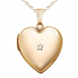 Solid 14k Heart Locket w  Genuine Diamond