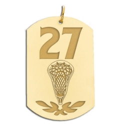 Personalized Lacrosse Number Dog Tag Pendant