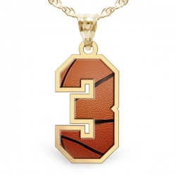 Basketball Color Enameled Single Number Pendant or Charm