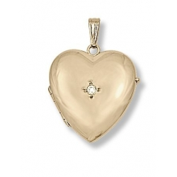 Solid 14K Yellow Gold Heart Four Photo Locket W  Diamond
