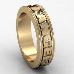 14K Two Toned Woman s Personalized Band with Names and Date
