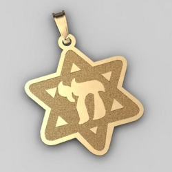 Star of David  w  Chai Symbol Pendant