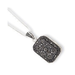 Sterling Silver Marcasite Locket w 18 inch Chain