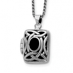 Sterling Silver Onyx   Marcasite Square Locket w  18 Chain