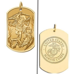Saint Michael Doubledside MARINES Dogtag Medal  EXCLUSIVE